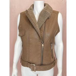 BARNEYS ORIGINALS Sherpa + Vegan Leather Moto Vest